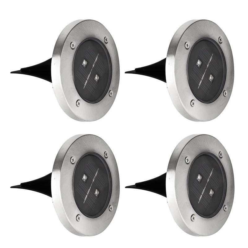 led solarleuchte f r garten edelstahl 4 st ck bodenstrahler 0 5w. Black Bedroom Furniture Sets. Home Design Ideas