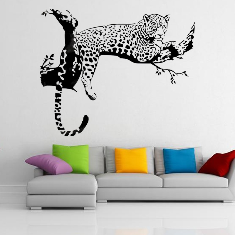 wandsticker leopard wandaufkleber wandtattoo schwarz. Black Bedroom Furniture Sets. Home Design Ideas
