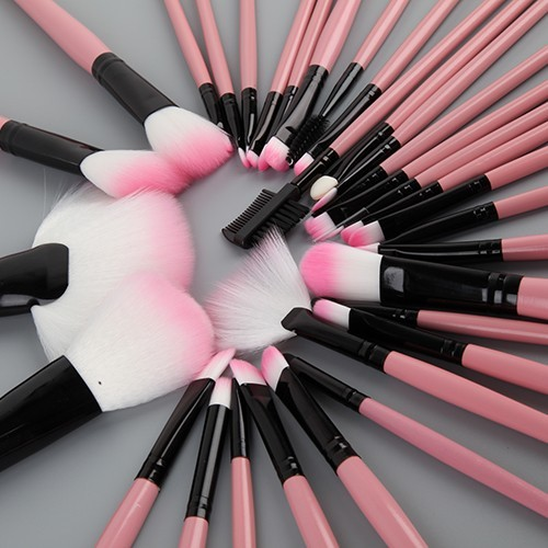 make up brush set schminkpinsel pink mit tasche rosa. Black Bedroom Furniture Sets. Home Design Ideas