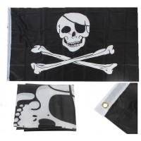 Piratenflagge Jolly Roger Piraten Fahne mit 2 Metallösen 90x150cm schwarz