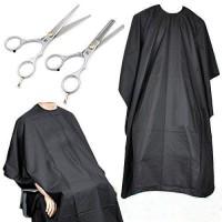 2 x Haarschere Set mit Haarschneideumhang schwarz