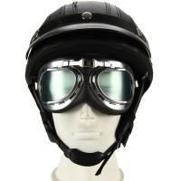 Motorradhelm Schutzhelm mit UV-Schutzbrillen Visor Schwarz