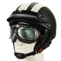Motorradhelm Schutzhelm weiß Kampfhelm mit UV-Schutzbrillen Visor