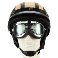 Motorradhelm Motorrad-Sturzhelm gelb mit UV-Schutzbrillen Visor