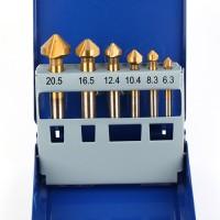 6 x Kegelsenker Set 6,3 - 20,5 mm HSS mit Schrank