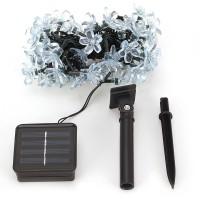 LED Solar Lichterkette Weihnachtsbeleuchtung 7m Blumen 50LEDs balu