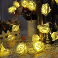 2,2m 20er LED Rosen Lichterkette warmweiß 4.5V LED Beleuchtung Batterie Freien f.Garten Rasen Weihnachten Deko
