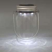 Solar LED Leuchte Einmachglas weiß Solarglas Gartenbeleuchtung Laterne