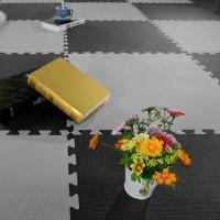 Schutzmatten Set 4 PuzzleMatten Sport Matten Bodenmatte 60cm(L)x60cm(B)x1,3cm(H) schwarz