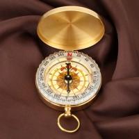 Kompass Marschkompass golden Gehäuse Edelstahldeckel