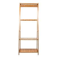 Bambus Kleiderständer Garderobenständer 6 Haken 165 x 60 x 43cm