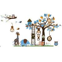 Wandtattoo Kinderzimmer Tiere Set 185x96cm mit Äffchen Giraffe