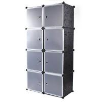 Steckregal Schrank kunststoff kleiderschrank 35cmx35cmx35cm 8 Boxen schwarz