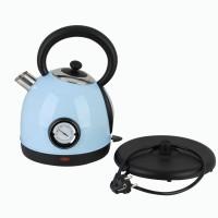Teekessel mit Thermometer Edelstahl Wasserkessel Kanne Teekanne 1,8L 2200W analoges Thermometer Blau