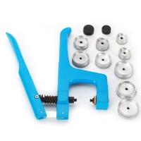 Uhrmacher Werkzeug Gehäuseöffner  Gehäusehalter Einpresswerkzeug Druckplatten +11 Druckplatten Kunststoffeinsätze