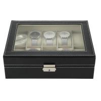 Uhrenbox Uhrenkasten Uhrenkoffer mit Schaufenster, für 10 Uhren, PU Uhrendisplay Schatulle,Schmuckkollektion, Schwarz