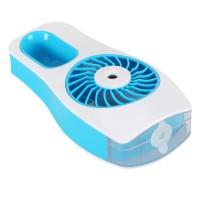 Mini USB Ventilator, mit Akku  2000mAh, Wasserzerstäuber Sprühfunktion,Handventilator Ventilatoren Leise ,Fan Tischventilator blau / Weiß