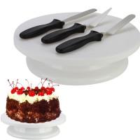 Tortenplatte mit 3 Streichmesser Fondant Streichpalette Set