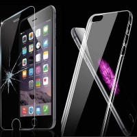 iPhone 6 / 6S Hülle TPU Silikon Case + Displayschutzfolie Glas Transparent Apple