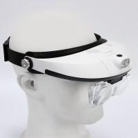 Kopfbandlupe Uhrmacherlupe für Brillenträger mit 2 LED 1.0-6.0x