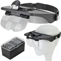 Stirnlupe mit 2 LED Kopflampe mit beleuchtung mit 1.2x 1.8x 2.5x 3.5x Vergrößerung