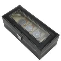 PU Uhrenbox mit Schaufenster Uhrenbox für 5 Uhren schwarz Koffer