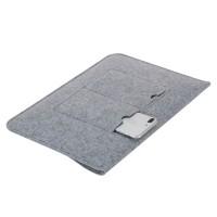 Filz Tasche Hülle für Notebook MacBook 15.4 Zoll Laptop Tasche Schutzhülle Klettband ShockProof Hellgrau Notebooktasche