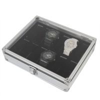 Uhrenkoffer Alu für 12 Uhren mit Sichtfenster innere Samt