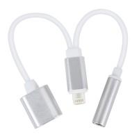 iPhone 7 7Plus Adapter f. Laden Hören 2in1 Lightning Adapter 3,5 mm AUX Kopfhörer Ladekabel, silber