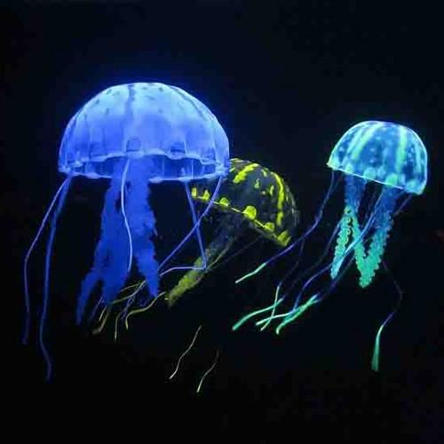 Glowing effekt silikon quallen jellyfish aquarium deko for Dekoration quallen