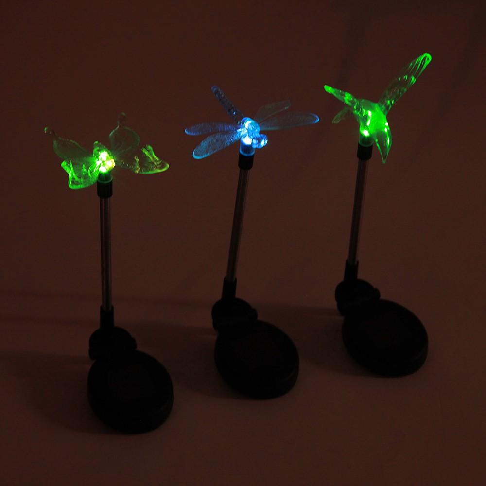 3pcs led solarlampe garten farbwechsel libelle. Black Bedroom Furniture Sets. Home Design Ideas