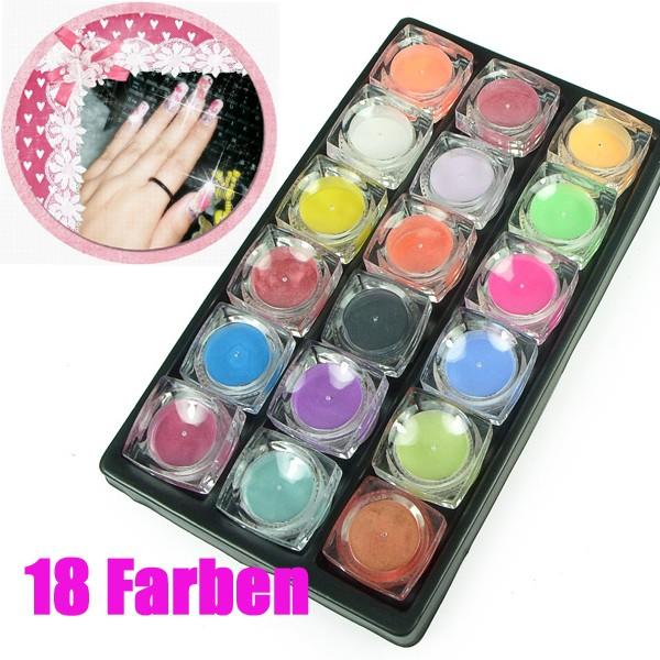 18er set acryl color powder glitter nailart nagel. Black Bedroom Furniture Sets. Home Design Ideas