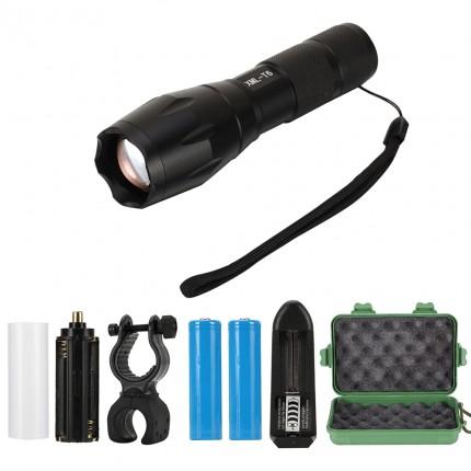 led taschenlampe 800lm t6 batterie oder akku einstellbarer fokus. Black Bedroom Furniture Sets. Home Design Ideas