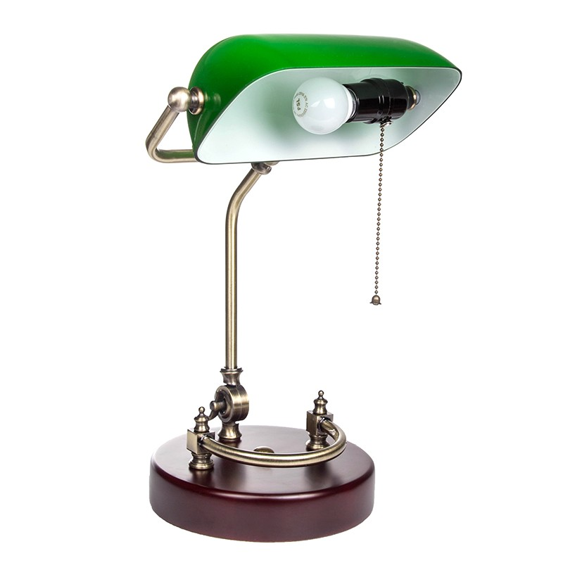bankerlampe gr n retro tischlampe mit verziertem holzfu. Black Bedroom Furniture Sets. Home Design Ideas