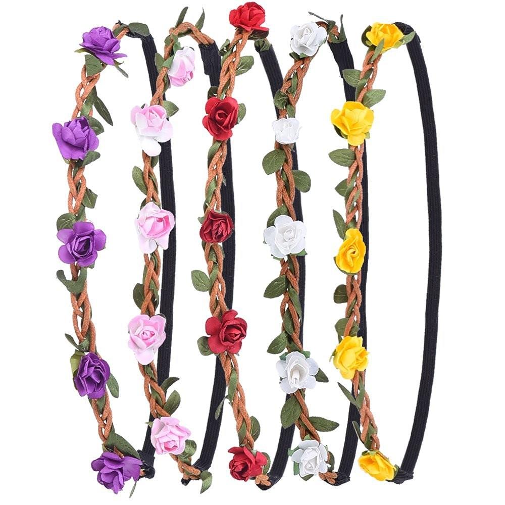 6pcs blumen stirnband haarband kopfband krone kranz f r. Black Bedroom Furniture Sets. Home Design Ideas