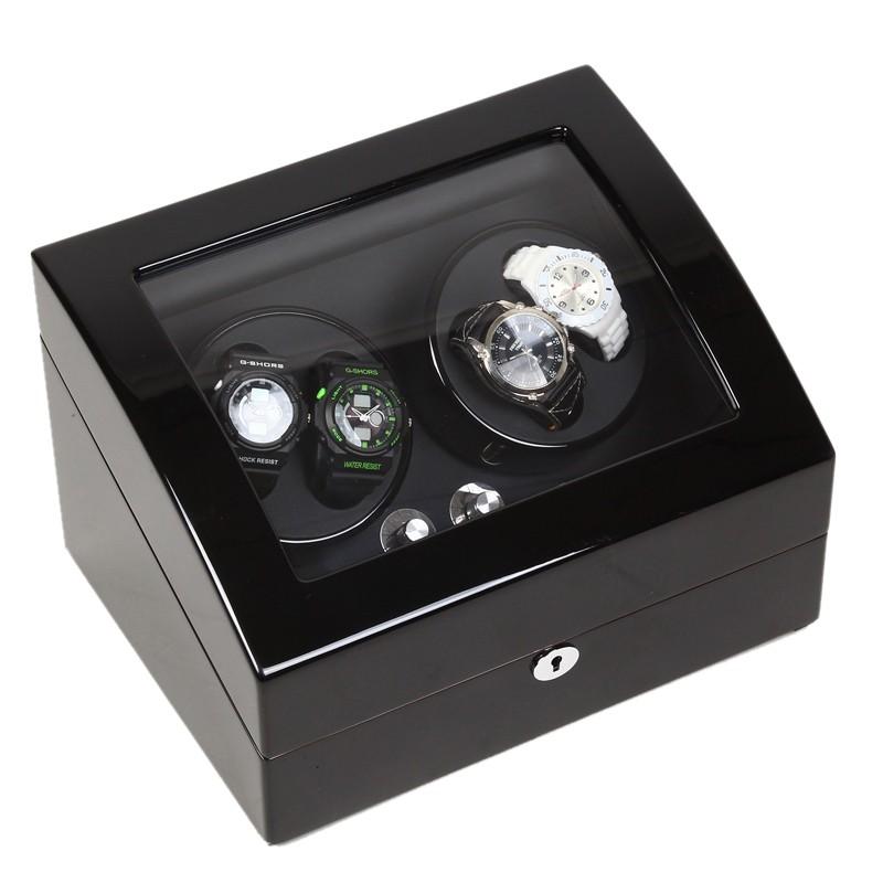 uhrenbeweger uhrendreher uhrenbox f r 4 6 uhren schwarz mit netzteil. Black Bedroom Furniture Sets. Home Design Ideas