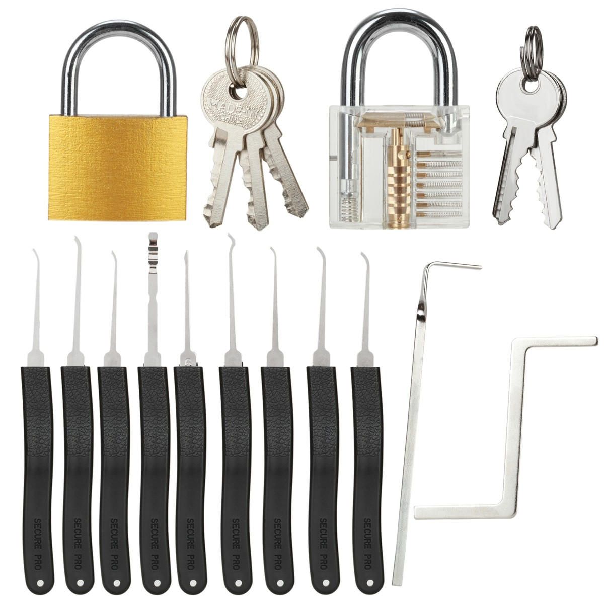 11 teiliges lockpicking set transparentes vorh ngeschloss werkzeuge kaufen. Black Bedroom Furniture Sets. Home Design Ideas