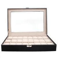 Uhrenbox Uhrenkasten für 24 Uhren Uhrenkoffer mit Schaufenster, , PU Uhrendisplay Schatulle, Schwarz