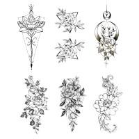 Rose Blume Temporäre Klebe Tattoos Körper Aufkleber Sticker 6er Set