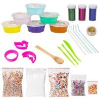 Schleim DIY Slime Kit 6Farben Fluffy Clay Schlamm mit Schaum Bälle