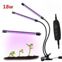 Pflanzenlampe Pflanzenlicht Zeitfunktion Wachstumslampe Doppelkopf 18W