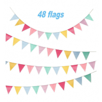 48pcs Wimpelketten Banner Multicolor Wimpel Girlande Dreieck Dekoration