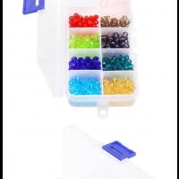 1200pcs Facettierte Glasperlen Kügelchen Perlen mit Aufbewahrungsbox