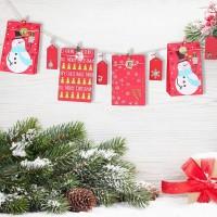 24pcs Adventskalender Weihnachten Geschenktüten Papiertüten Geschenktüten