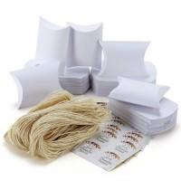 Kissenförmige Kraftpapier Pralinenschachtel Geschenkbox 100er weiss