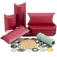 Kissenförmige Kraftpapier Geschenkboxen 24pcs mit Juteschnur rot
