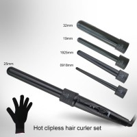 Lockenstab Lockenwickler 5 in 1 Lockenstab Locken Hair curler Set mit Handschuh Schwarz 85W 150-210℃