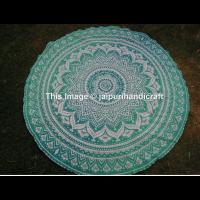 Strand Mandala Sandstrand Rund 150cm grün Sunscreen Schal Wandteppich Wickelrock Yoga Handtuch Outdoor