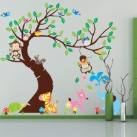 Wandtattoo für Kinderzimmer Cartoon Eulen&Affe 190x143cm
