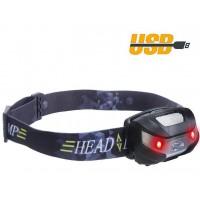 Stirnlampe LED Kopflampe mit USB Kabel wiederaufladbar für Camping